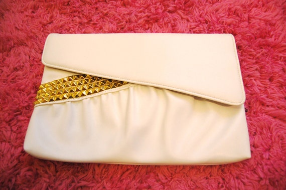 Gold Studded Vintage White Leather Clutch Purse