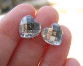 white heart studs,post stud earring,heart jewelry,tiny stud earrings