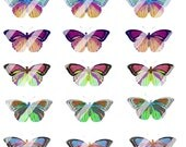 printable Butterflies digital collage sheet set of 18 gold magenta cerulean orange green Butterfly Variations 1 Spring