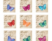 Butterflies digital collage sheet  4 X 6  each approx. 1 inch X 1 inch on French script parchment  background ewellery tags mixed media