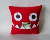 Red Tooth Fairy Pillow or Gift Card and Money Holder