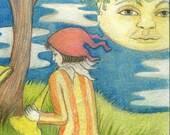 Drifting to the melancholy minstrels (original drawing on paper).