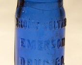Antique Cobalt Blue Bromo-Seltzer bottle Circa 1900