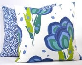 "Contemporary Annie Selke ""Happy Poppys"" Floral Decorator Pillow Cover - Blues, Greens and White - To cover 18""x18"" Pillow Form"