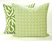 "Waverly Designs ""Cross Section"" Decorator Pillow Cover - Fabric Both Sides - Green & White - To cover 18""x18"" Pillow Form"
