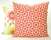 "Robert Allen ""Cat's Cradle"" Designer Decorative Pillow Cover - Fabric Both Sides- Papaya Coral and White - To Cover 20""x20"" Pillow Form"