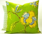 "Robert Allen Decorator ""Les Fauves"" Pillow Cover - Yellow and Blue on Green - To cover 20"" x 20"" Pillow Form"