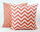 """Modern """"Zig Zag"""" Decorator Pillow Cover - Coral and White Fabric Both Sides - To cover 20""""x20"""" Pillow Form"""