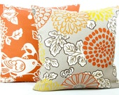 "Designer Thomas Paul ""Mum"" Indoor Outdoor Pillow Cover - Fabric Both Sides - Coral, Orange, White, Taupe Tan - 20""x20"" Pillow"