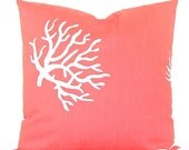 """Premier Prints """"Coral"""" Decorator Pillow Cover - Coral and White - To cover 20""""x20"""" Pillow Form"""