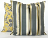 """Decorator Stripe Pillow Cover - Fabric Both Sides - Grey, Yellow, Gold, Black, Tan, White - To cover 20""""x20"""" Pillow Form"""