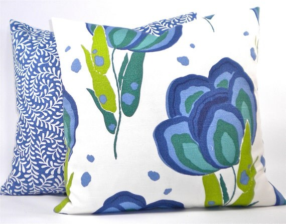 """Contemporary Annie Selke """"Happy Poppys"""" Floral Decorator Pillow Cover - Blues, Greens and White - To cover 18""""x18"""" Pillow Form"""