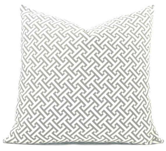 """Waverly Designs """"Cross Section"""" Decorator Pillow Cover - Gray & White Fabric Both Sides - To cover 20""""x20"""" Pillow Form"""