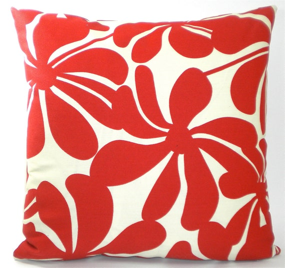 "Premier Prints ""Twirly"" Indoor/Outdoor Decorator Pillow Cover - Red & Ivory - To cover 18""x18"" Pillow Form"