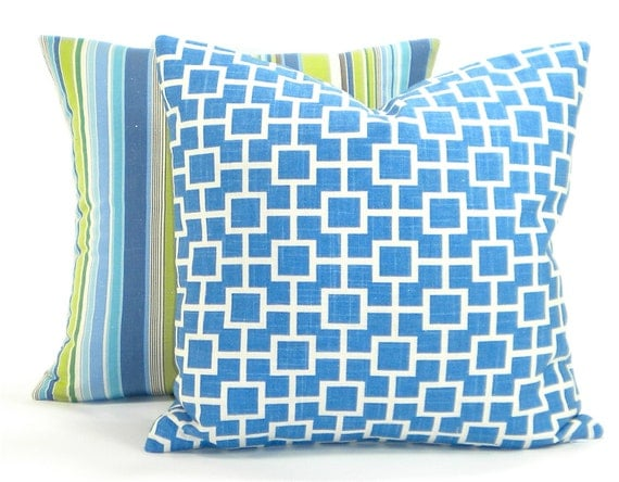 "Contemporary Robert Allen ""Cat's Cradle"" Designer Pillow Cover - River Blue and White Fabric Both Sides - To Cover 20""x20"" Pillow Form"