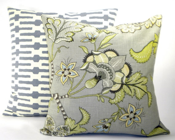 """Reserved for Kristi - """"Clarice"""" Grey Floral Fabric Both Sides Pillow Cover - Greys, Tans, Greens  and Ivory - For 20"""" x 20"""" Pillow Form"""