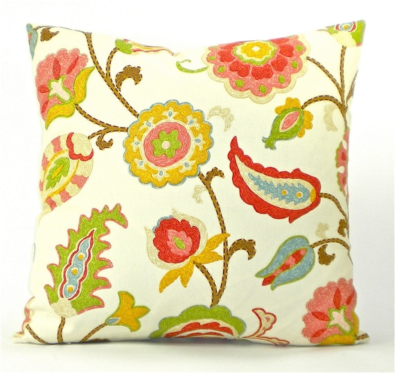 """Jacobean Floral """"Selim"""" Color Punch Both Sides Pillow Cover - Corals, Reds, Yellows, Greens on Ivory White - To cover 20"""" x 20"""" Pillow Form"""