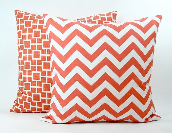 "Modern ""Zig Zag"" Decorator Pillow Cover - Coral and White Fabric Both Sides - To cover 20""x20"" Pillow Form"