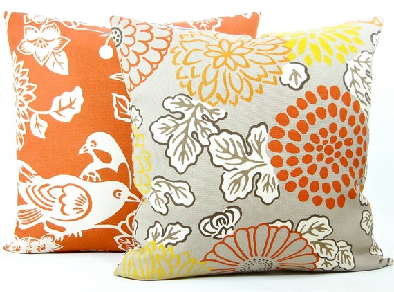 """Designer Thomas Paul """"Mum"""" Indoor Outdoor Pillow Cover - Fabric Both Sides - Coral, Orange, White, Taupe Tan - 20""""x20"""" Pillow"""