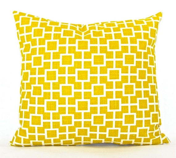"""Contemporary Robert Allen """"Cat's Cradle"""" Designer Decorator Pillow Cover - """"Sunshine Yellow"""" and Ivory - To Cover 18""""x18"""" Pillow Form"""