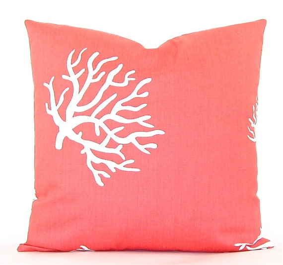 "Premier Prints ""Coral"" Decorator Pillow Cover - Coral and White - To cover 20""x20"" Pillow Form"