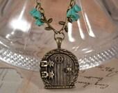 Fairy Door Locket, Garden Door Necklace, Turquoise Glass Flower Necklace