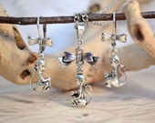 Baby Monkey Necklace and Earrings Set, Sweet Monkey Necklace and Monkey Earrings, Silver Finish