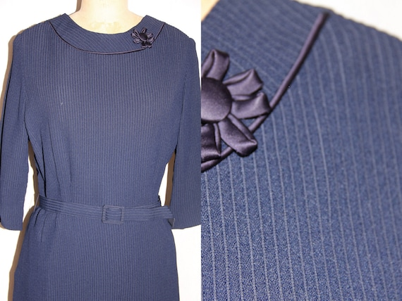 RESERVED for Emily - XL Vintage 1950 Dress Navy KORELL Classic