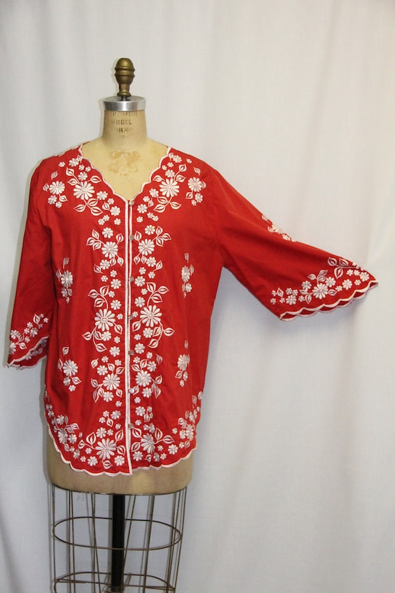 Vintage 1960s Tunic Embroidered  Red and White