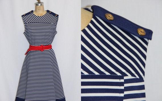 XXL Vintage Dress Navy and White Sailor