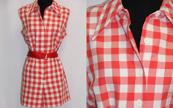 XL Vintage Romper 1960s Playsuit Red and White Checks