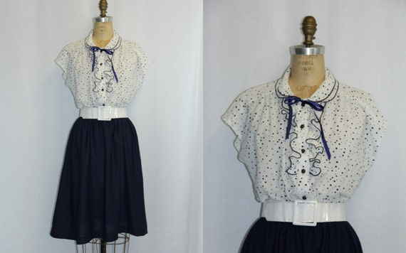 Vintage Secretary Dress XL Navy Blue and White Polka Dots