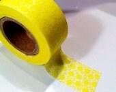 Japanese Washi Tape  Lemon with Flower Pattern Single 15mm