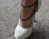 Black Silver Gunmetal Chain Shoe trendy Jewelry Anklet Foot Jewelry Metal Woven Unique One of a Kind High Fashion