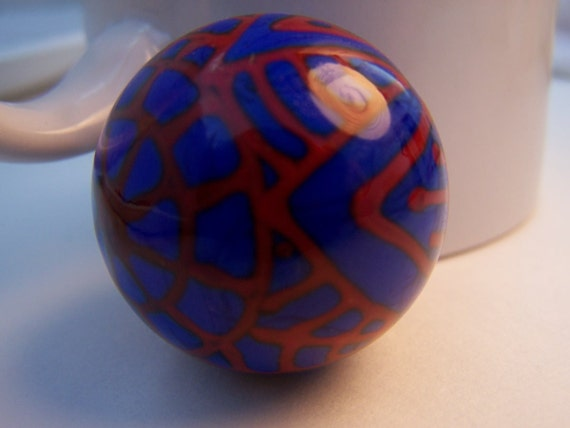 Lampwork handmade glass marble blue with red line design free shipping
