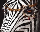 Print 8x10- Zebra Painting Black and White Stripes Rubies Gold Chains Fine Art