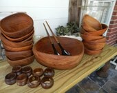 Wood Salad Serving Set and Napkin Rings