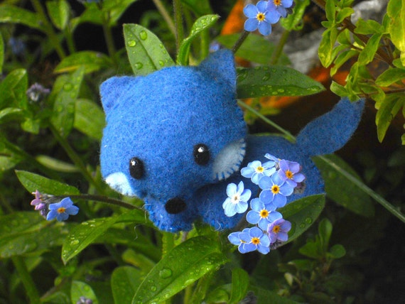 Cute Little Blue Felt Fox Plushie