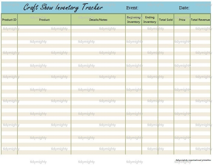 Craft Show Inventory Tracking Printable