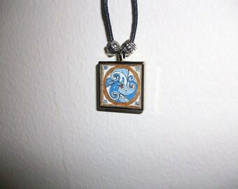 Blue and Gold Celtic Spiral Pendant
