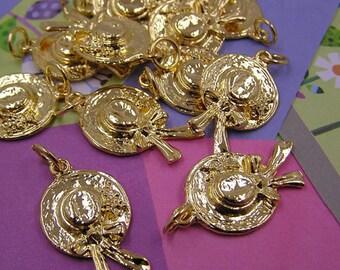 020 Gold Sun Bonnet Hat Charms