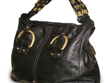 Chic Leather Satchel in black or chocolate brown
