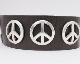 Unisex Peace Sign leather cuff