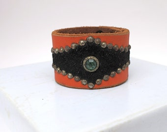 Tangerine & Black studded leather cuff