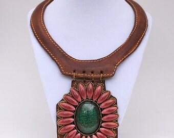 Beautiful Boho handmade Rustic Bohemian Leather Choker Necklace