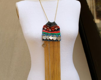 Gold faceted Waterfall necklace