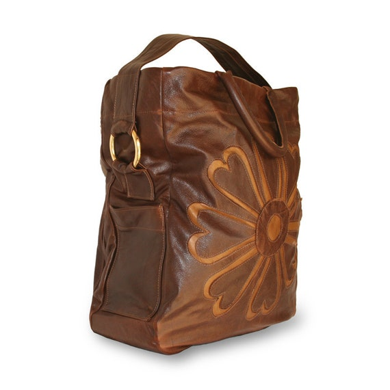 boho chic Rust color, one of a kind, Extra Large Leather Tote