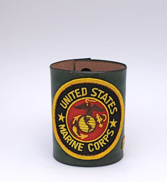 Green US Marine Leather Cuff