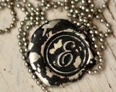BLACK color hand stamped, wax seal pendant. Your choice of letter  A B C D E F G H I J K L M N O P Q R S T U V W X Y Z.