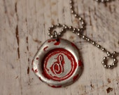 RED color wax seal pendant. Your choice of letter A-Z